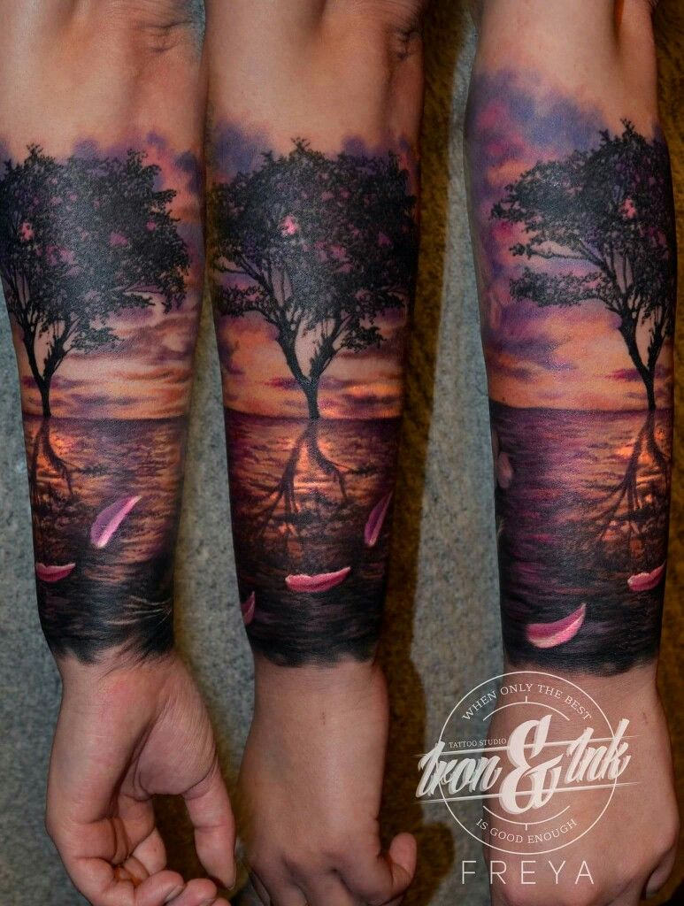 Sunset Tattoo Realism Tattoo Tattoos For Guys Sunset Tattoos pertaining to size 773 X 1024