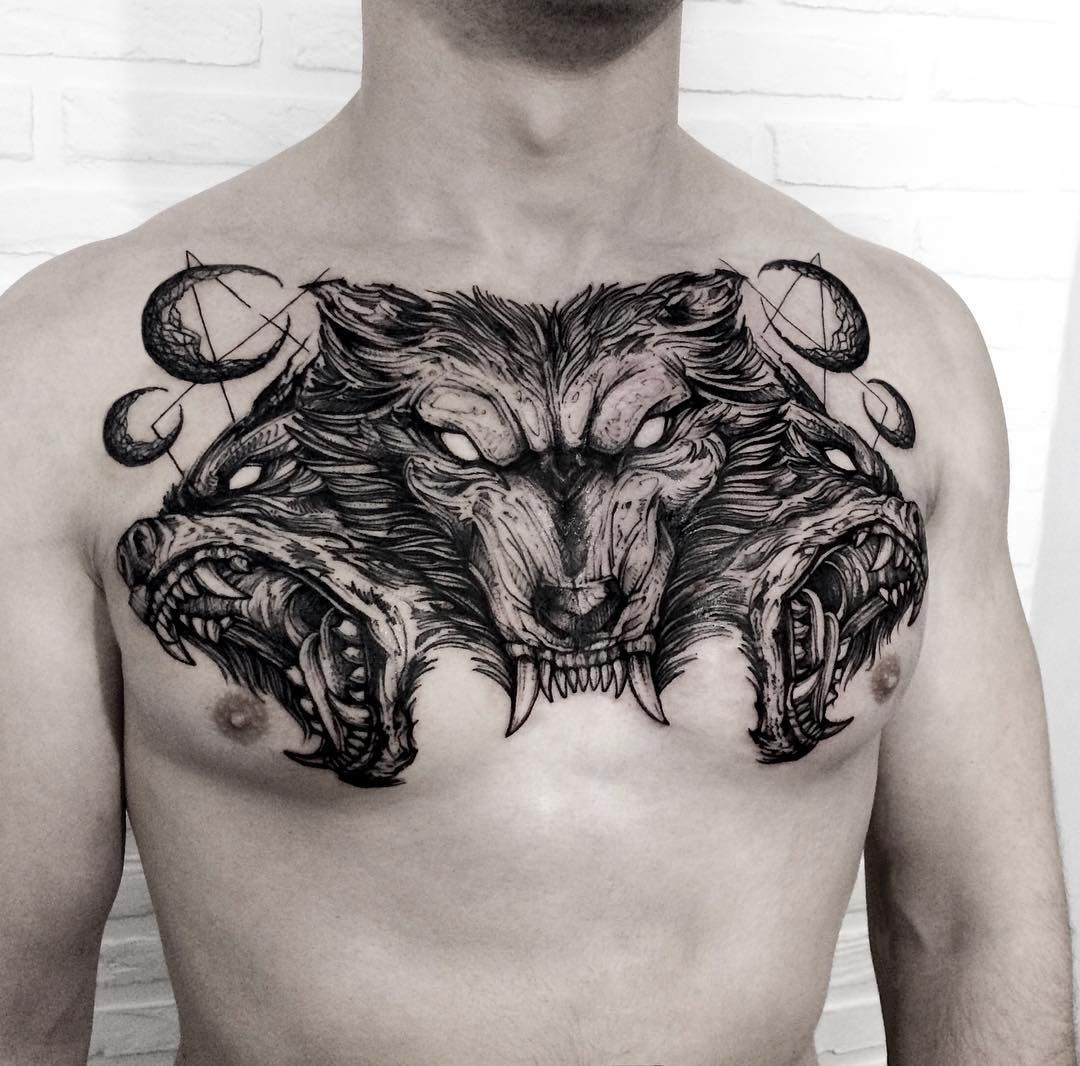 Super Mad Chest Piece Tattoos On Men Chest Tattoo Wolf Wolf in proportions 1080 X 1066