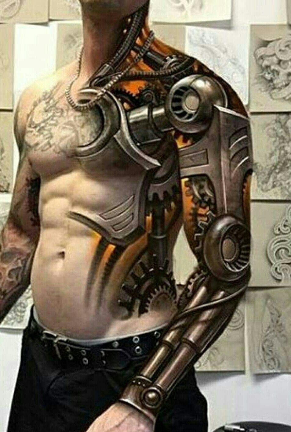 Tattoos Ssg Robot Tattoo Biomechanical Tattoo 3d Tattoos in size 953 X 1416