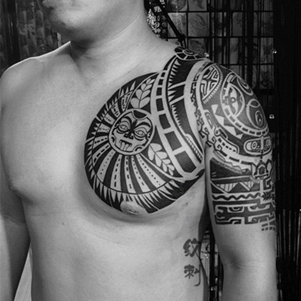 Temporary Tattoo Shoulder And Chest Sun Patterns Waterproof Tattoo throughout measurements 1000 X 1000