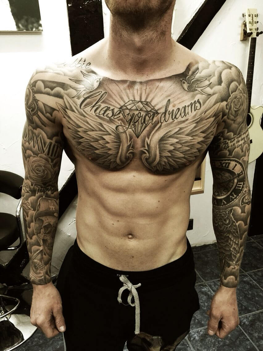 The 100 Best Chest Tattoos For Men Improb pertaining to size 852 X 1136