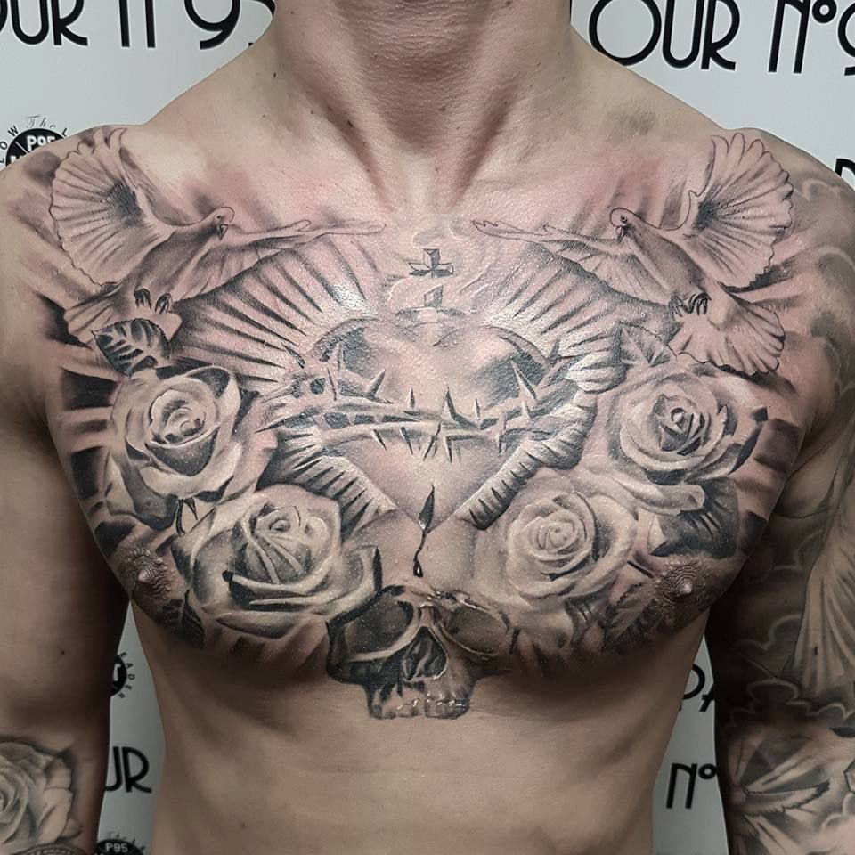The Sacred Heart My Style Chest Tattoo Cool Chest Tattoos regarding sizing 960 X 960