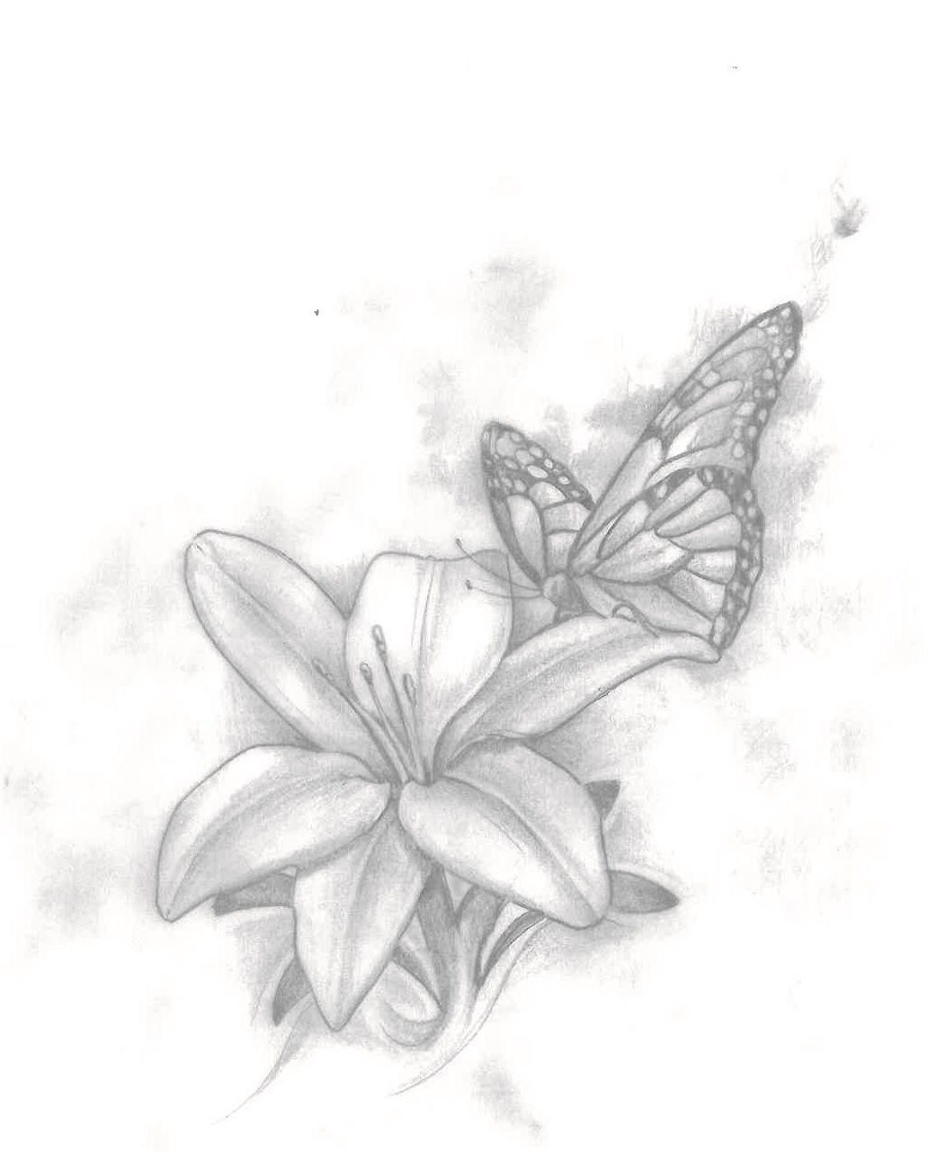 The Sketch Of My Butterfly And Lily Tattoo Tattoo Blackandgrey intended for measurements 1041 X 1281