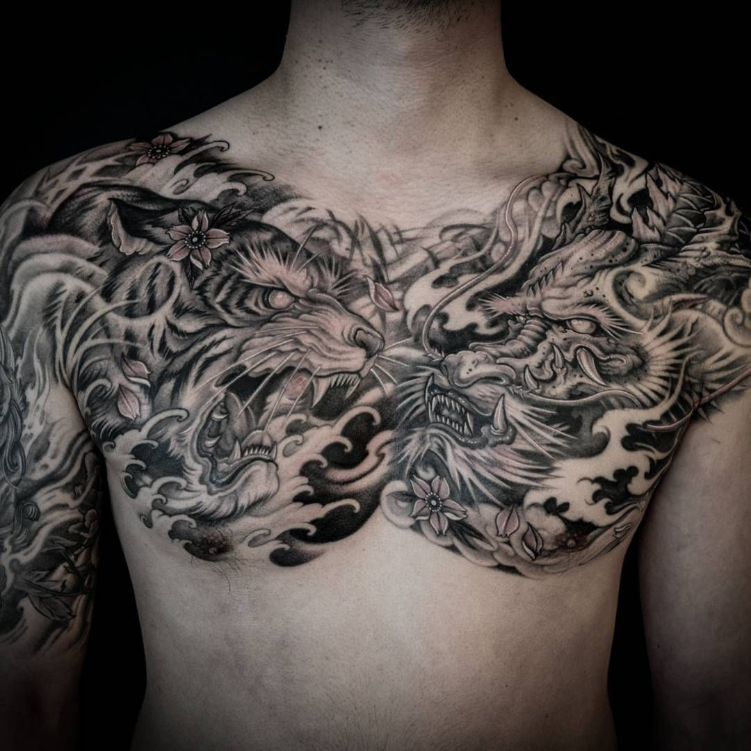 Tiger And Dragon Full Chest Piece Tattoo Chest Piece Tattoos regarding dimensions 1080 X 1080