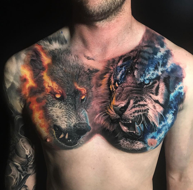 Tiger Vs Wolf Chest Best Tattoo Design Ideas regarding dimensions 1075 X 1060