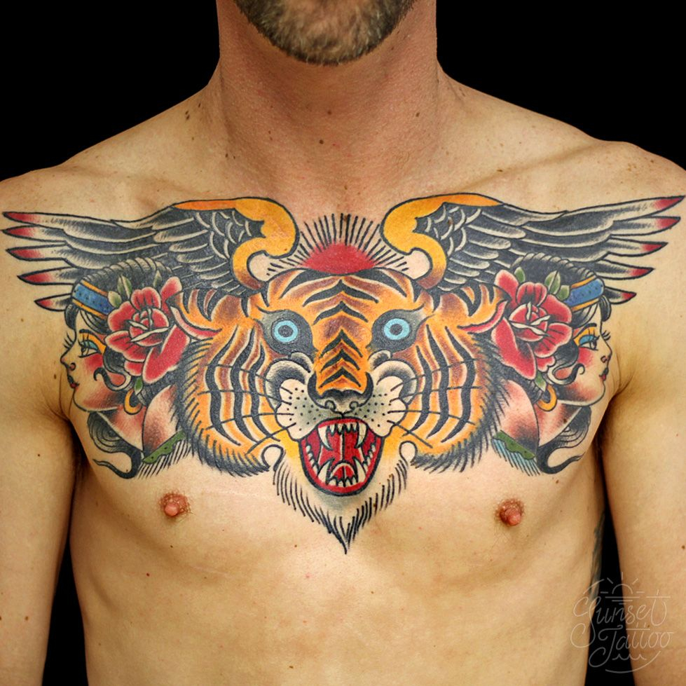 Tom Tiger Traditional Chest Tattoo Sunsettattoo Sunsettattooconz with sizing 979 X 979