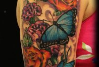 Wonderful Butterflies And Flowers Tattoo On Half Sleeve Jackie in proportions 1127 X 1920