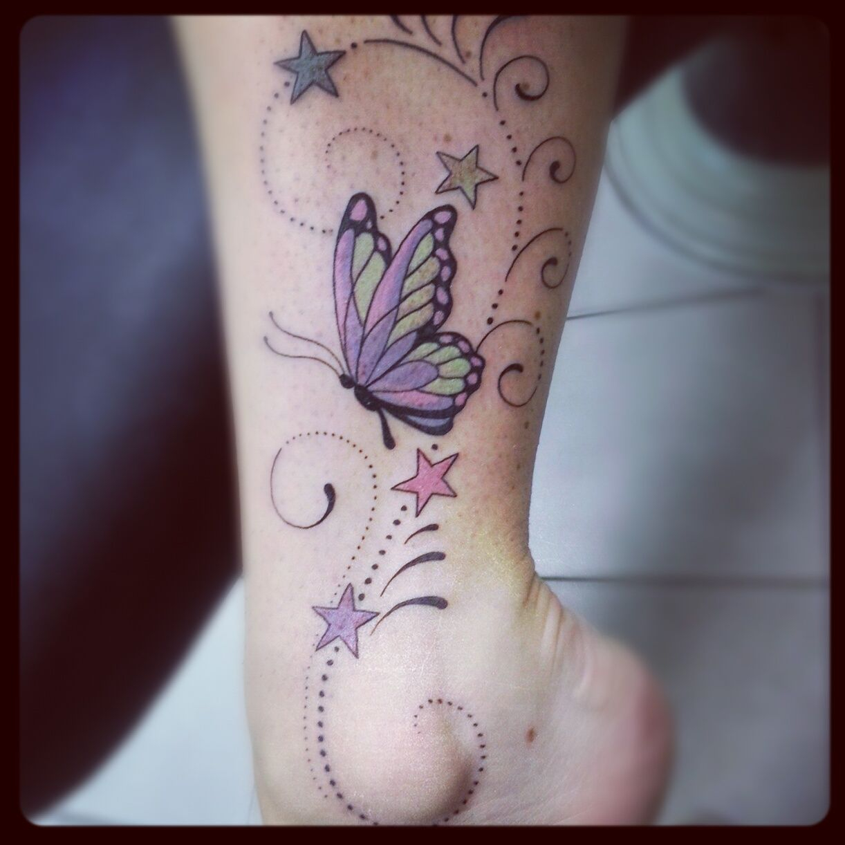 Wonderful Swirly Star Butterfly Tattoo On Ankle Tattoos Tattoos pertaining to sizing 1222 X 1222